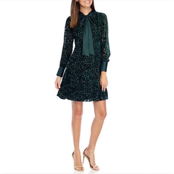 NWT Nanette Lepore Green Burnout Velvet Dress Sz 6